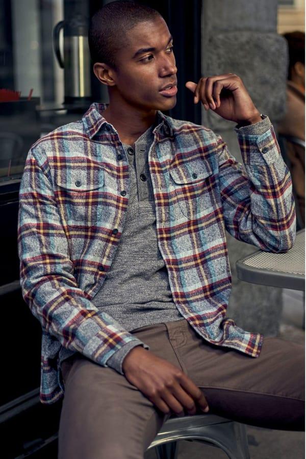 Grayers Lear Trim Fit Plaid Flannel Sport Shirt
