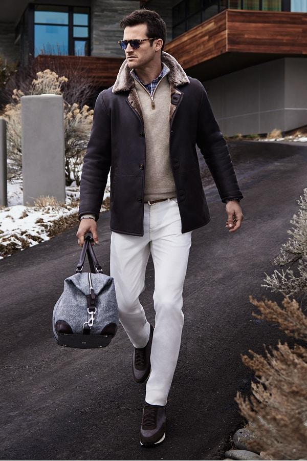 Peter Millar Shearling Coat, Sweater & Shirt