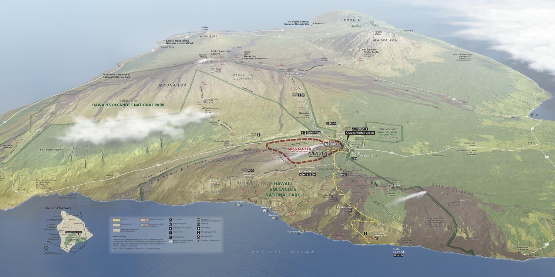 Hawaii Volcanoes Map