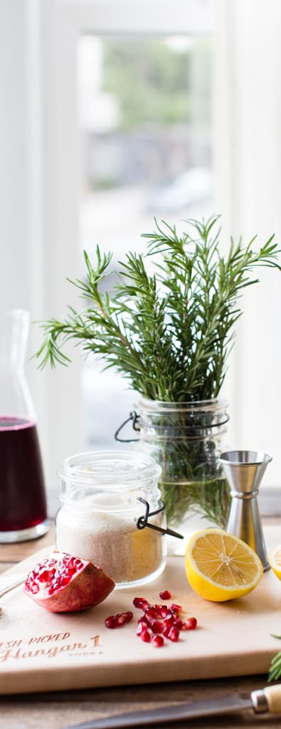 Rosemary Pomegranate Lemon Vodka Sparkler