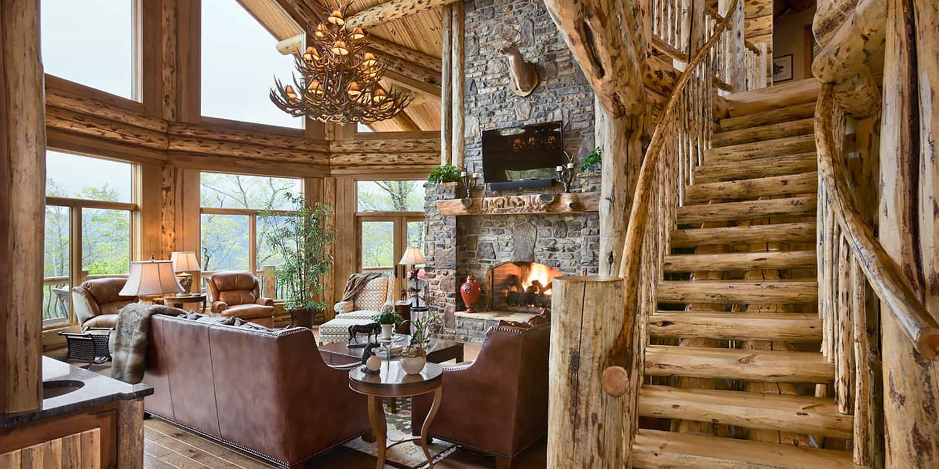 Great Room Log Home